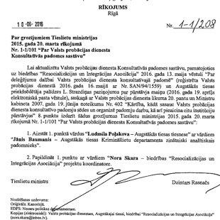 """Par grozījumiem Tieslietu ministrijas 2015. gada 20. marta rīkojumā Nr.1-1/101 """" Par Valsts probācijas dienesta Konsultatīvās padomes sastāvu"""""""
